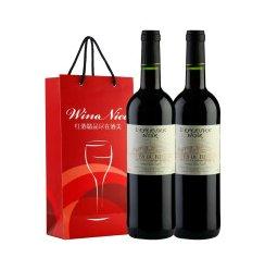 【奥比欧王牌】法国红酒罗纳河谷黑鹰2011干红葡萄酒双支礼袋装 750ML*2