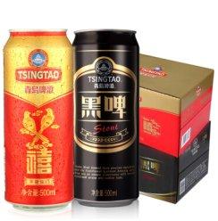 青岛啤酒千禧临门500ml*12听+黑啤500ml*12听