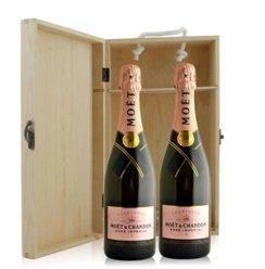 法国 酩悦粉红香槟双支松木礼盒装