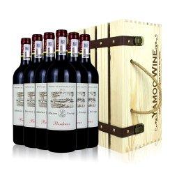 拉菲尚品波尔多法定产区干红葡萄酒 法国进口红酒 6支木箱礼盒装 750ml*6