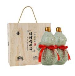 塔牌 绍兴黄酒 10年花雕酒吉祥典藏 十年木盒 半干型糯米酒 750ml*2瓶礼盒装