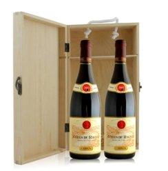 法国 吉佳乐世家罗纳山麓法定产区红葡萄酒双支松木礼盒装