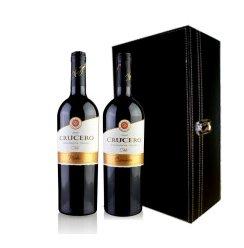 智利进口获奖酒克罗梅洛卡曼纳干红葡萄酒 双支皮盒套装