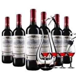 路易拉菲典藏AOP波尔多干红葡萄酒  法国波原装进口红酒 750ML 6瓶整箱装+天鹅醒酒器一个+红酒杯4个