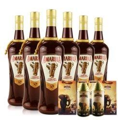 爱玛乐利口酒 配制酒 Amarula Cream 750毫升南非大象酒女生甜酒低度酒 六支送同款灯笼盒子+礼袋