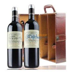 法国AOC红酒 2007年卡莱斯干红葡萄酒 750ml*2 双皮盒 礼盒红酒
