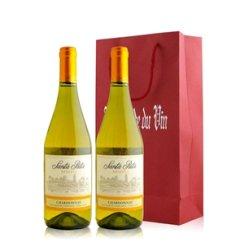 红酒客 智利 桑塔丽塔莎当妮特酿白葡萄酒双支礼袋装