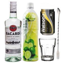 莫吉托Mojito鸡尾酒 百加得白朗姆酒屈臣氏青柠汁组合送高杯/1吧勺 长饮鸡尾酒