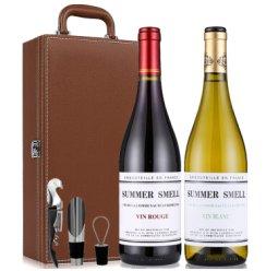 法国原瓶进口红酒 度夏蜜浓庄园半干红白葡萄酒750ML*2组合皮盒装
