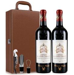 法国进口1855列级名庄四级酒庄正牌拉图嘉利Chateau La Tour Carnet庄园2015 750ml双支皮盒带酒具