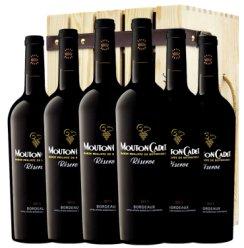 木桐红酒 法国进口红酒 木桐嘉棣 珍藏波尔多红葡萄酒 750ml*6 整箱送木箱酒刀