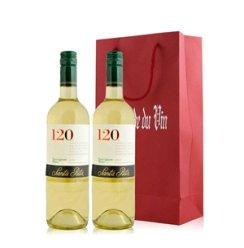 红酒客 智利 桑塔丽塔120白苏维翁干白葡萄酒双支礼袋装