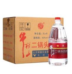 【旗舰店】牛栏山二锅头 牛桶42度清香型桶装白酒2000ml*6瓶 整箱装